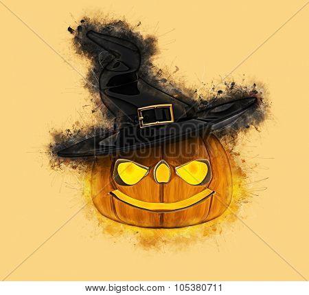 Grunge style Halloween pumpkin background
