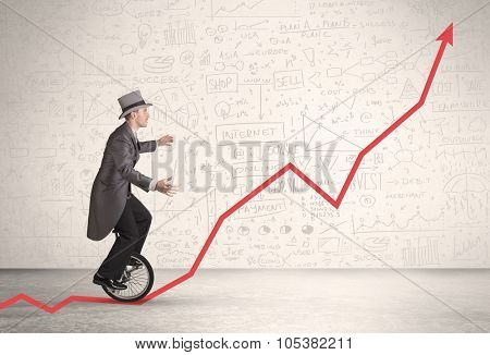 Business person riding unicycle on an uprising red arrow concept