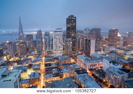 Aerial Views of San Francisco Financial District from Nob Hill, Dusk