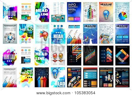 Set of Brochure, Flyers and layout templates for you projects. Ideal to use for brochures template, book cover, magazine fron page and generic printed material.