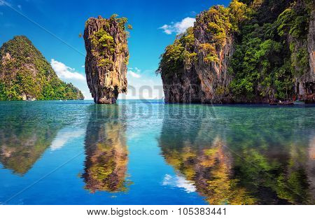 Beautiful nature of Thailand. James Bond island reflects in water near Phuket