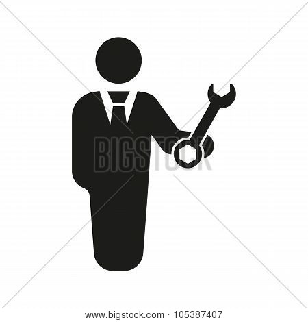 The support icon. Engineer and repair technician fixing symbol. Flat Vector illustration. Button Set poster