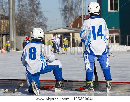 RUSSIA, OBUKHOVO - JANUARY 10, 2015: 2-nd stage children's hockey League bandy, Russia.