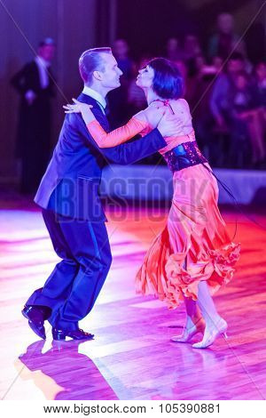 Minsk, Belarus - September 26, 2015: Artem Kazyra And Anastasiya Veslova Perform Vip Show Case Dance