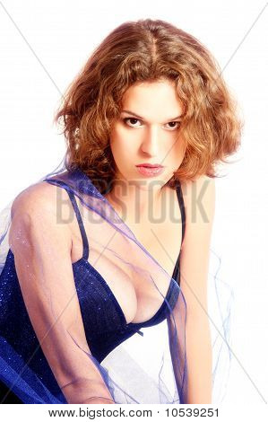 Attractive young looking sensual woman isolated on white background poster