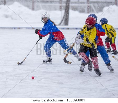 RUSSIA, KOROLEV - JANUARY 15, 2015: 3-d stage children's hockey League bandy, Russia.