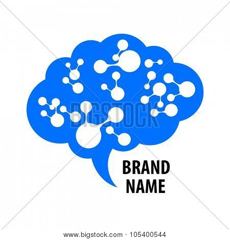 Brain - logo. Template design sign of the brain and neural connections. Brainstorming logotype concept icon. poster