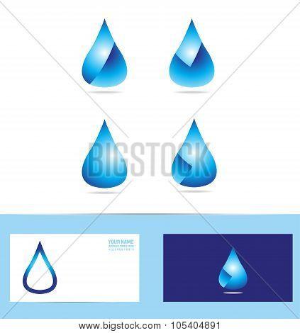 Water Rain Drop Logo Icon