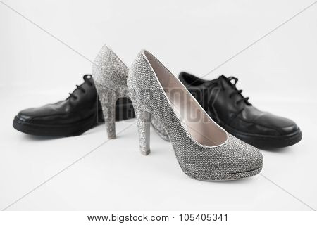 Sexy fashionable man's and womanish shoes