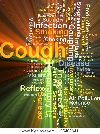 Background concept wordcloud illustration of cough glowing light