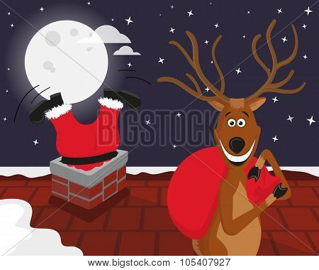 Funny reindeer with Santa on the roof