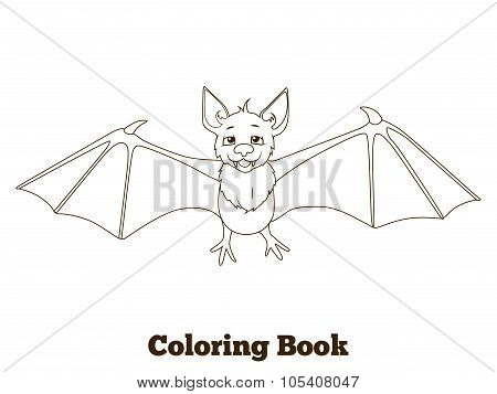 Coloring book forest animal bat cartoon