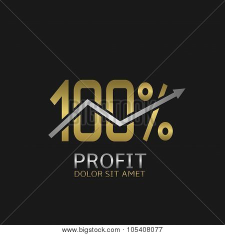 One hundred Profit golden icon with silver growth arrow poster