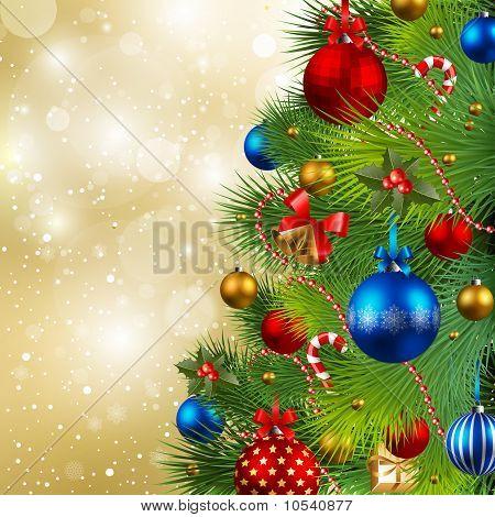 Christmas Background with Kugeln und Weihnachtsbaum