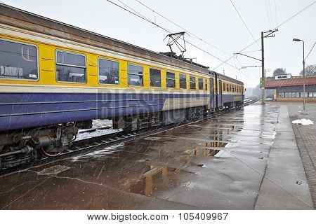Trains wagons on a station
