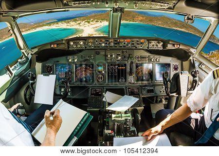 Cockpit on tropical beach