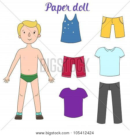 Paper doll boy and clothes vector illustration