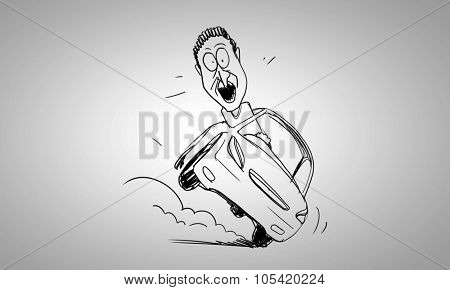 Caricature of funny man driving car on white background