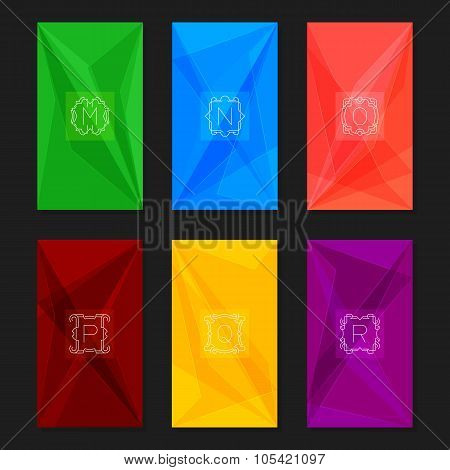 Abstract geometric backgrounds with monograms. Letters M-R.