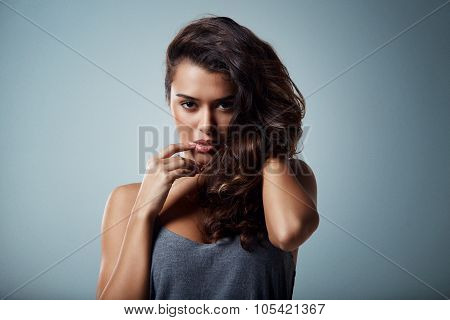 close-up portrait of beautiful brunette mixed race girl. Beauty woman over isoleted background make-up poster
