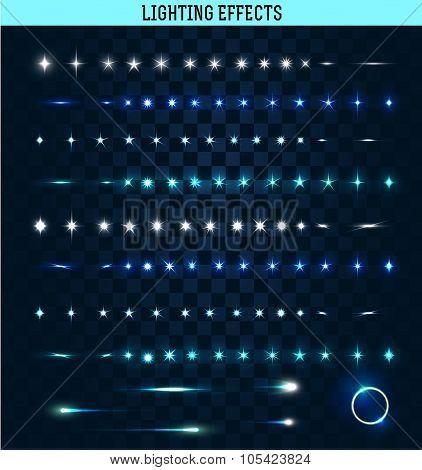 Big set of lighting isolated effects. Magic, bright stars