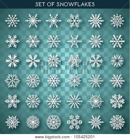 Set 36 white different snowflakes handmade with realistic shadow