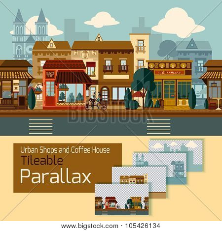 Shops tileable parallax with buildings on different layers vector illustration poster