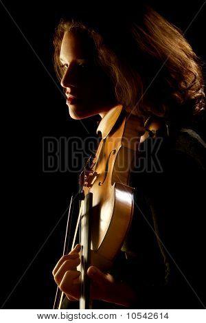 Violinist With Violin On Black