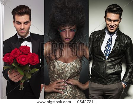 collage picture of three fashion models posing in studio. man in tuxedo  offering flowers. beauty woman posing. casual businessman standing with hands in pockets