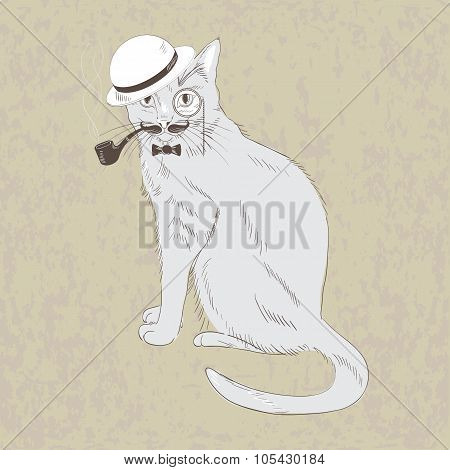 Cute Hand Drawn Gentleman Cat in Hat Bow Tie Monocle.