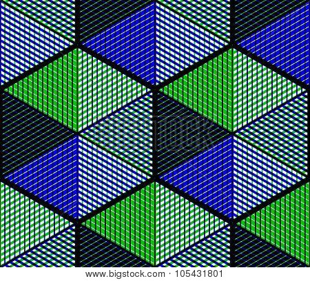 Contemporary abstract endless green and blue background three-dimensional repeated pattern. Decorative graphic entwine transparent ornament. poster