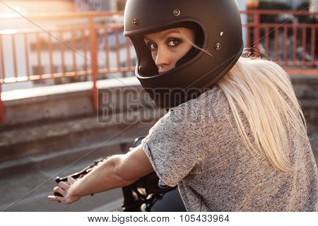 Fashion Female Biker Girl With Vintage Custom Motorcycle