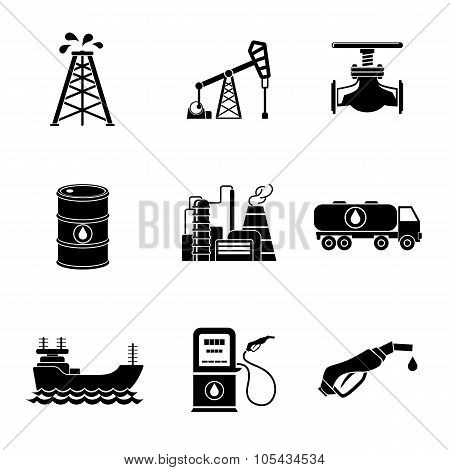 Set of oil icons - barrel, gas station, rigs, tanker, truck, plant, valve. Vector