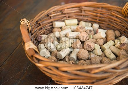 Shopping Cart Filled With Corks From Wine Bottles