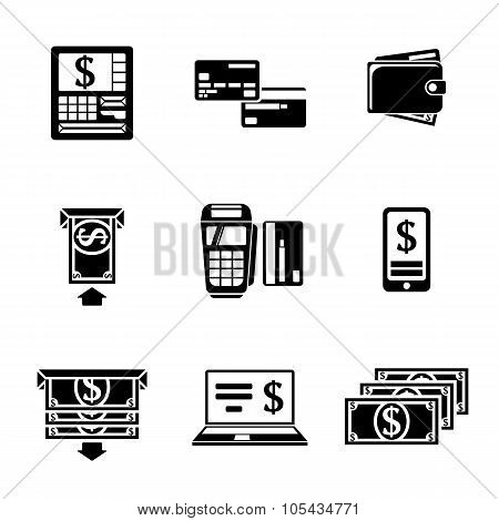 Set of ATM monochrome icons with - ATM, cards, wallet, portable atm, smartphone, money transfer, not