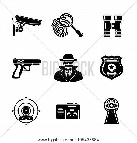 Set of Spy icons - fingerprint, spy, gun, binocular, eye in keyhole, badge, surveillance camera, rea