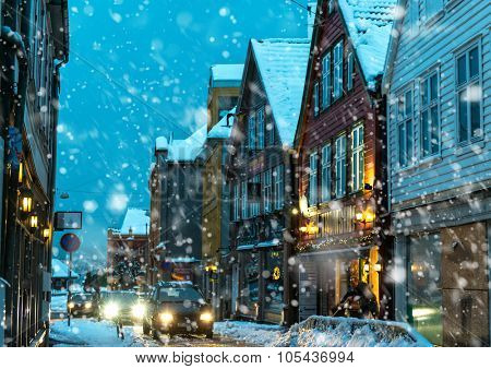 BERGEN,NORWAY - DECEMBER 29: The historical part of the city. Bergen, Norway on December 29, 2014. Bergen the second largest city in Norway. Bergen is known as the gateway to the kingdom of the fjords