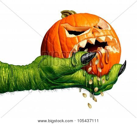 Monster hand holding a creepy pumpkin head jack o lantern that is dripping eerie liquid as a halloween symbol for horror and weird seasonal ritual on a white background. poster