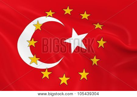 Turkey Potential EU Member Concept Image - 3D render of a waving Turkish Flag with European Union Stars poster
