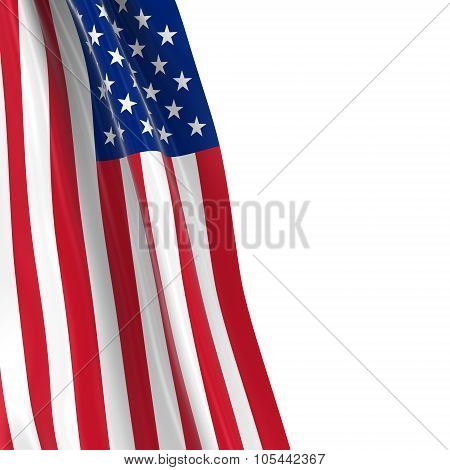 Hanging Flag Of The United States Of America - 3D Render Of The Us Flag Draped Over White Background