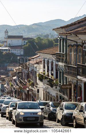 OURO PRETO, BRAZIL - CIRCA OCTOBER 2015: Antique houses in Ouro Preto in Minas Gerais, Brazil