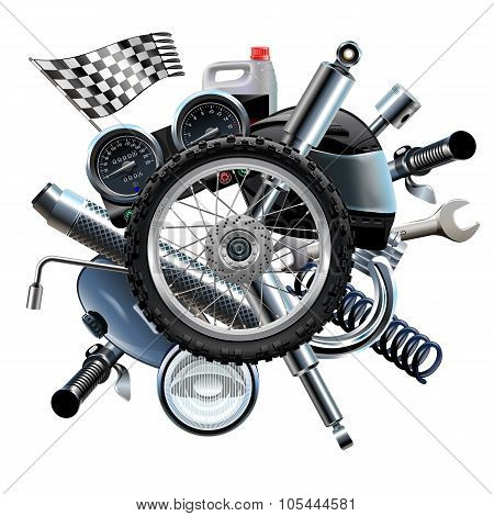 Vector Motorcycle Spares With Wheel