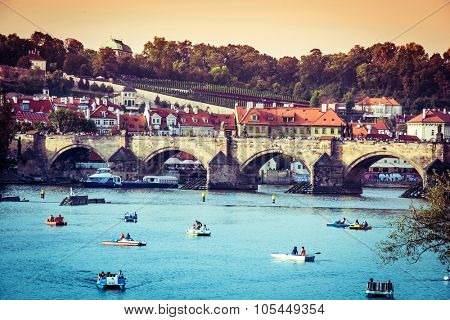 Prague, Czech Repablic - september 28, 2014: beautiful view of the Charles Bridge and other sights in Prague, Czech Republic