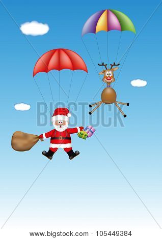 Santa Claus and the reindeer are coming with the gifts