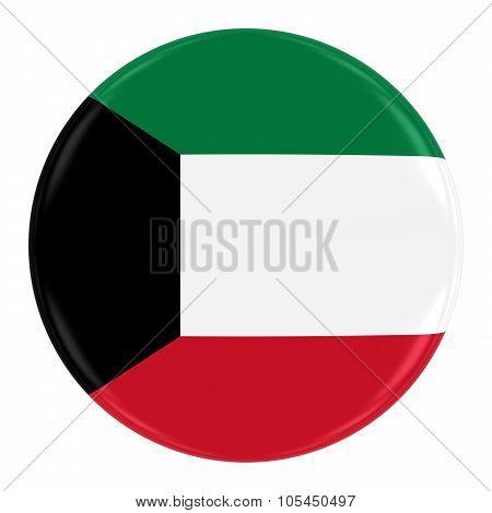 Kuwaiti Flag Badge - Flag Of Kuwait Button Isolated On White