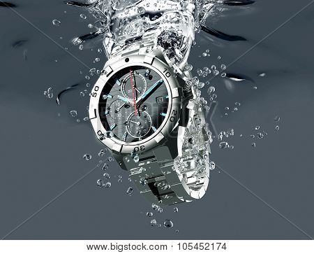 Wrist Watch Is Splashing In Water