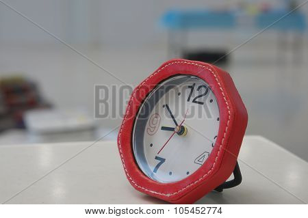 Red Alarmclock In Office