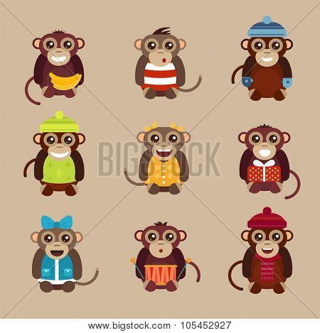 Happy cartoon vector ape monkey happy toys. Monkey party birthday . Merry christmas monkey toys, monkey vector, banana, jump, smile, monkey play. Vector ape monkey animals cartoon flat style. Apes