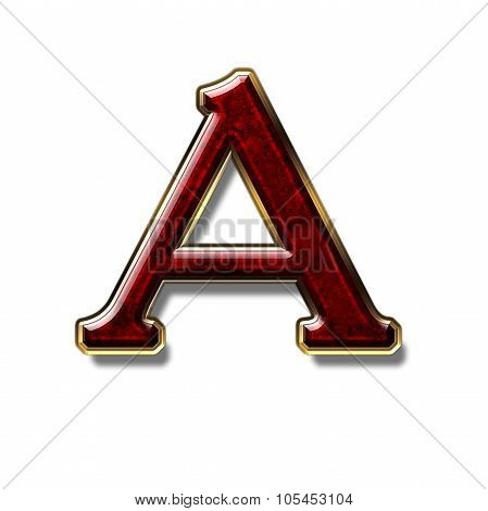 Letter A - precious stone is red isolated on white background poster