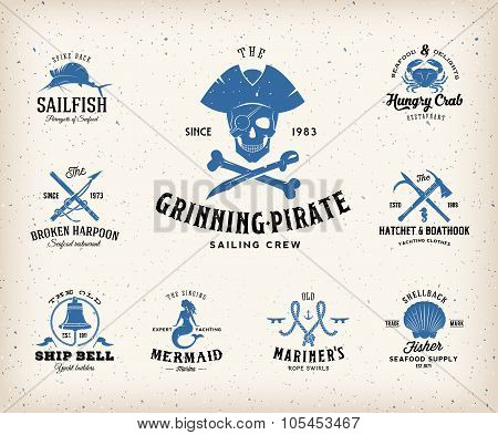 Vintage Nautical Labels or Design Elements With Retro Textures and Typography. Fits Perfect for a T-